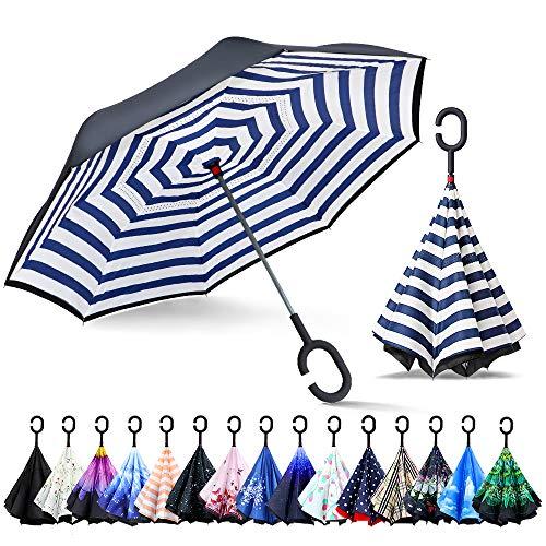 ZOMAKE Inverted Stockschirme, Innovative Schirme Double Layer, Winddicht Regenschirm, Freie Hand,Umgedrehter Regenschirm mit C Griff für Auto Outdoor (Blaue Streifen)