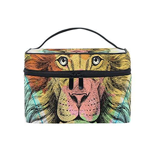 Maquillage Sac cosmétique Stockage portable Triangle Lion Lion avec fermeture à glissière