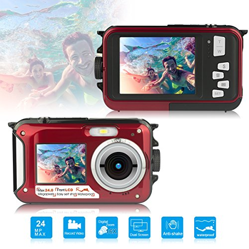 Waterproof Digital Camera Underwater Cameras,Waterproof Underwater Digital Cameras for Snorkelling Travel Holiday -Selfie Dual Screen