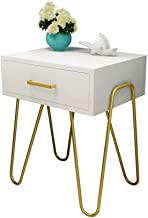 End Tabl Modern and Stylish Side Table with Drawer Bedside Table with Metal Support (white) Small Tables for Living Room