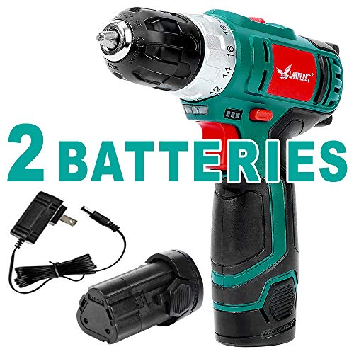 Cordless Drill Driver,10.8V 248 in-lbs Compact Electric Power Drill,2 Li-Ion Batteries 1300 mAh,18+1 Torque Setting,2-Speed Trigger Built-in LED,3/8in Keyless Chuck,LANNERET LCCD10.8