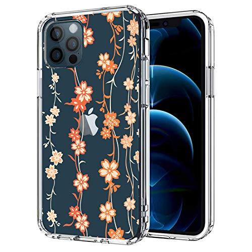 Flower Series - Funda para iPhone 12 Pro Max, delgada, a prueba de golpes, plástico duro y flexible, para niñas, mujeres, hombres, adolescentes, transparente, japonesa Lotus Vine