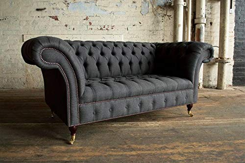 JVmoebel Chesterfield 2 Sitzer Couch Polster Sitz Textil Stoff Leder Couchen Sofas Sofa