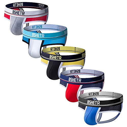 BSHETR Men's Jockstraps Athletic Supporters 5-Pack Ultra Soft Daily Sports Underwear (Multi-B, XX-Large 37
