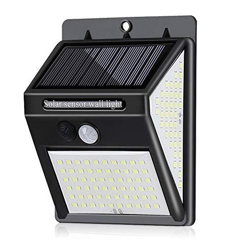 Luz solar 3 modos Luz solar jardín lámpara de pared exterior 140 LED PIR Sensor de movimiento valla patio luz de camino Lámpara de noche de emergencia
