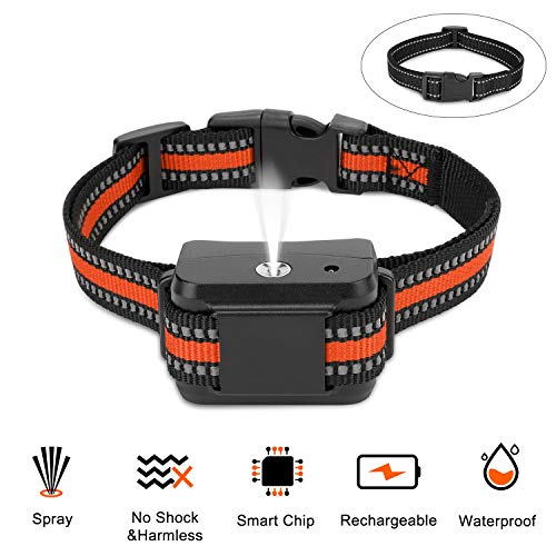 Zeonetak Rechargeable Spray Bark Collar, Citronella Dog Bark Collar Stop Barking Collar for Dogs Small Medium Large, Adjustable Spray,2 Straps 2 USB Cords, Waterproof No Shock Harmless & Humane