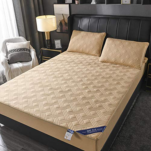 JRDTYS Snugly Around Your Mattress Hypoallergenic, Breathable Bed Sheets Are Oh-So-SoftCotton zippered protective cover with non-slip cover-Camel_150*200+7.5