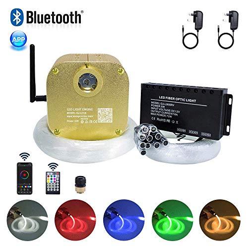 Kingmaled 16 W Twinkle Music App RGBW Kit de luz de fibra óptica, Aluminio y plástico., Blanco, 430pcs*(0.03in+0.04in+0.06in)*9.8ft+Meteor