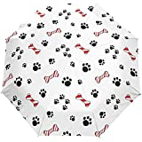 Cute Dog Puppy Cat Paw Footprints Auto Open Umbrella Sun Rain Umbrella Anti UV Folding Compact Automatic Paraguas