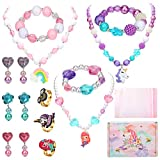Kids Jewelry for Girls, Hicdaw 17Pcs Toddler Costume Jewelry Princess Necklace Bracelet Kit Gift for Girls Dress Up Pretend Play Party Favors