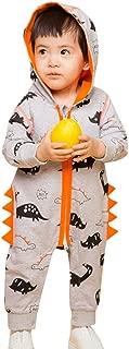 Baby Boys Girls Cute Dinosaur Zipper Hooded Romper Jumpsuit Outfits
