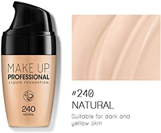 77JOK Face Foundation Matte Liquid Foundation Flawless Complete Coverage Long Lasting Waterproof Moisturizing Anti-Aging Base Concealer Foundation for All Skin Types 30ml Foundation Makeup (D#240)