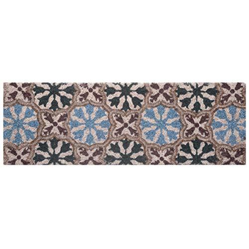 Baroni Home Zerbino Ingresso Casa in Cocco con Base in PVC Dipinto a Mano Arabesque Blu e Celesti 70x25X2 cm. Facile da Pulire e Ultraresistente Arabe