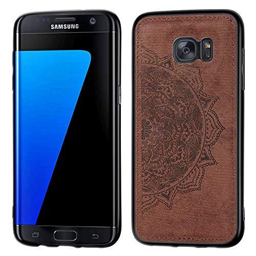 Jorisa Hülle Kompatibel mit Samsung Galaxy S7 Edge,Geprägt Mandala Blume Retro Stoff Slim Dünn Handyhülle Hybrid Hart PC Weich Silikon mit Magnetische Autohalterung Funktion Hülle,Braun