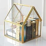 Kimdio Vintage Glass Jewelry Organizer Box Golden Metal Keepsake Lidded Box Desktop Jewelry Organizer Holder, Wedding Birthday Gift, Square Vanity Decorative Box for Dresser, Bathroom - Glod