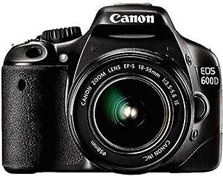 كاميرا عاكسة مفردة العدسة بدقة 18 ميجابكسل لون اسود من كانون اي او اس 600 دي
