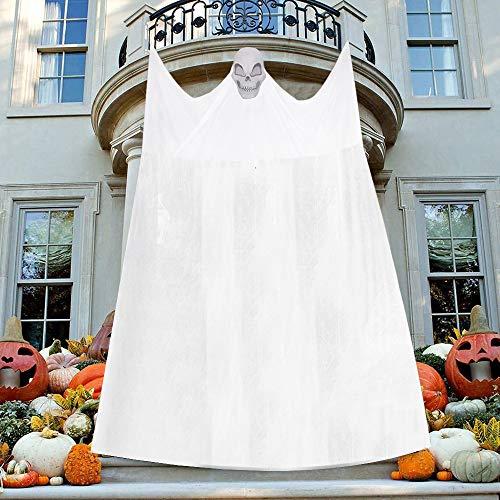 LOKIPA - Decorazioni da appendere con fantasma di Halloween, con tenda spaventosa e raccapricciante, decorazione per interni ed esterni, colore: bianco