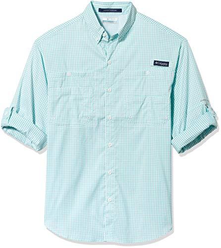 Columbia Men's Standard Super Tamiami Long Sleeve Shirt, Bright Aqua Gingham-Legacy, Large