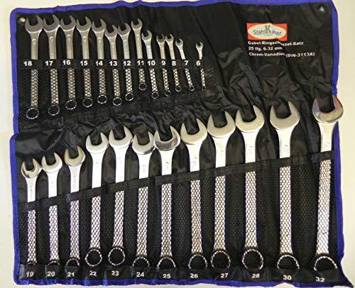 25 tlg. Ringschlüssel Set Maulschlüssel Satz 6-32 mm Ring-Maulschlüssel-Satz Chrom Vanadium Stahl