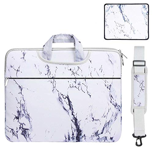GENENIC 13-13.3 inch Laptop Case Shoulder Bag & Mouse Pad 2 in 1 Set, Fashionable Messenger Handbag, Upgrade Protection Ultrabook Sleeve Notebook Computer Carrying Briefcase (White Marble)