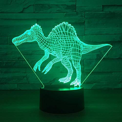 Nachtlampje 3D nachtlampje koplamp illusie dinosaurus batterij touch-schakelaar afstandsbediening