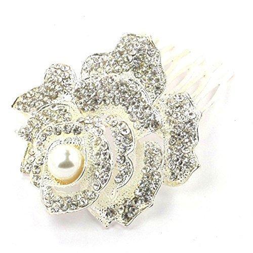 Bride Boutique Bridal Wedding Prom Vintage Rose Silver Crystal & Pearl Hair Slide Side Comb by Bride Boutique
