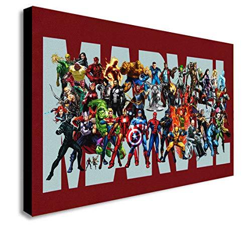 Marvel Superheroes Logo - Canvas Wall Art Framed Print - Various Sizes (A2 24x16 inches)