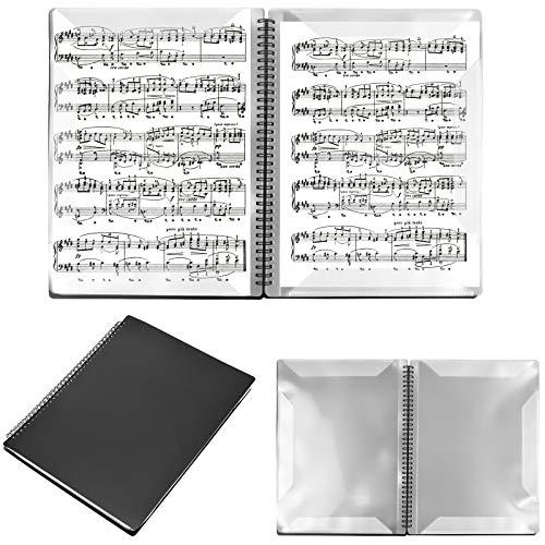 Notenblattordner A4, 30 Seiten Notenmappe Notenblätter, Doppelseitiger Musik Tabelle Datei Ordner, Spiralge Bundener Musik Notenordner für Halten Planen Dateien Dokumente