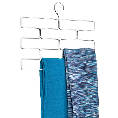 iDesign Trio Bügel für Leggings, Hängeorganizer für Schals und Krawatten, Schalhalter aus Metall, silberfarben