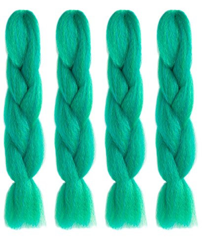 American Dream Premium Kanekelon Tresse pour cheveux Tissages, Dreads et son Style avant Garde Creative, Vert clair et bleu foncé Mix, Lot de 4