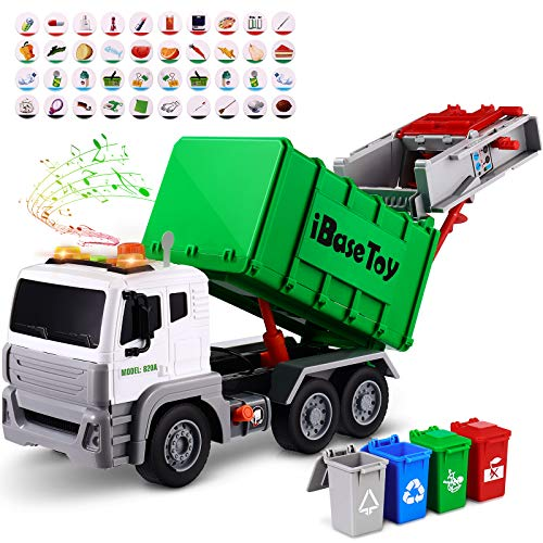 Garbage Truck Toy with Lights& Sounds, Friction-Powered Bin Lorry Toy with...