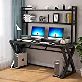 IPKIG Tempered Glass Computer Desk with Shelves, Office Desk Computer Table Modern Office Study Gaming Work Writing Desk Table for Home Office Workstation, Black (Z-Shape-55.1 Inch with Bookshelf)