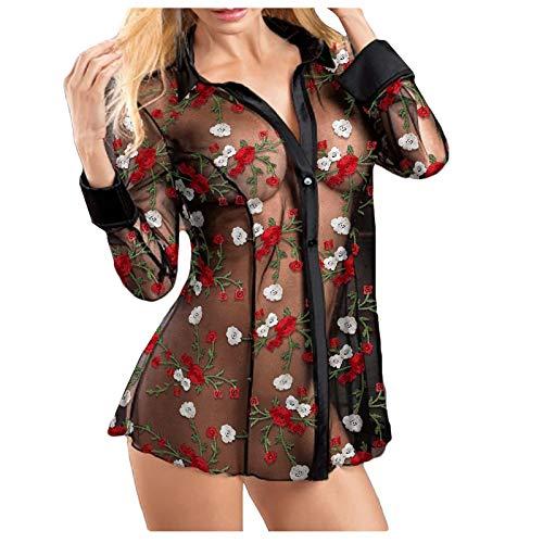 Masrin Mask Frauen Erotik Tops Bestickt Floral Sheer Mesh Shirt Frauen Sexy Bodydoll Dessous Tops S-3XL(L,Schwarz)