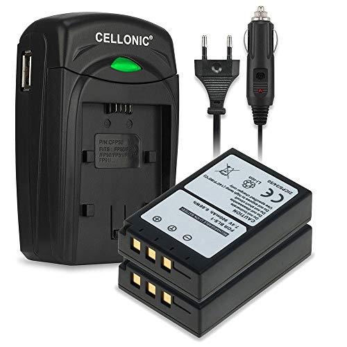 CELLONIC 2X Batería Premium Compatible con Olympus E-420 E-450 E-410 E-400 E-420 E-620 E-600 Pen E-P3 E-PL1 E-P1 E-P2, BLS-1 900mAh + Cargador BLS-1 bateria Repuesto Pila