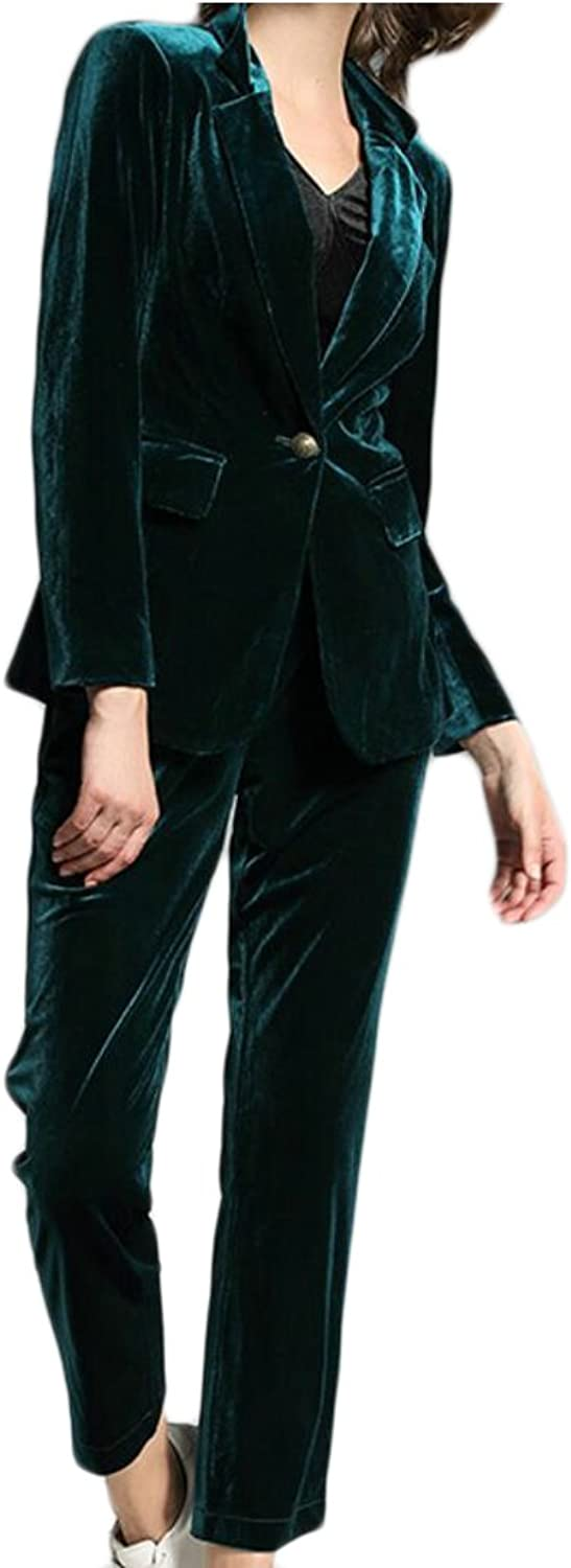 GAGA Women's Slim Stylish Long Sleeve Velvet Suit 2 Pieces Outfits