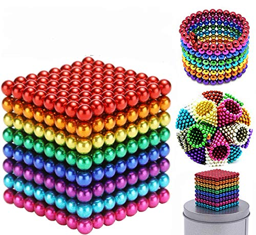 JIFENGTOYS 512 Pieces 8 Colors 5MM Magnets Balls Fidget Blocks Building Toys Magnetic Building Blocks Sets for Development of Intelligence Stress Relief Gift for Adults (512 Pcs)