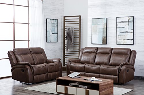 New Hartfordshire Leather Reclining Sofa Set 3 + 2 Recliner Suite (Tan)