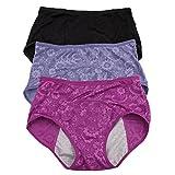 Pack de culottes menstruelles faciles à nettoyer motif jacquard pour femme - Multicolore...