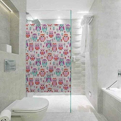 Milchglasfolie, 3D-Fensterfolie, statisch haftend, Eulen-Motiv, modern, für Wohnzimmer, Schlafzimmer, Küche, Lobby, Veranda, Büro, 45 x 89,9 cm (B x L)