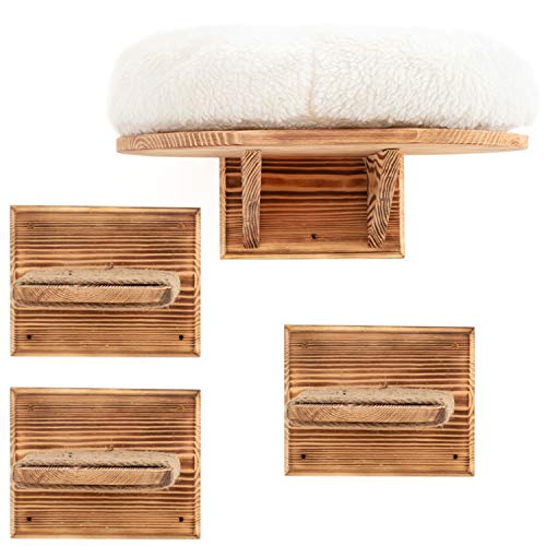 IK Style Estante para gatos montado en la pared con 3 escalones de escalada, plataforma de madera maciza para gatos con cojín extra suave