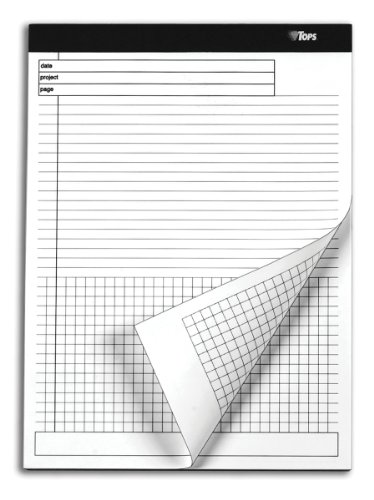 """TOPS Docket Gold Project Planner, 8-1/2"""" x 11-3/4"""", Top Bound, Project-Ruled Top, 4 x 4 Graph-Ruled Bottom, 40 Sheets, 4 Pack (77101)"""