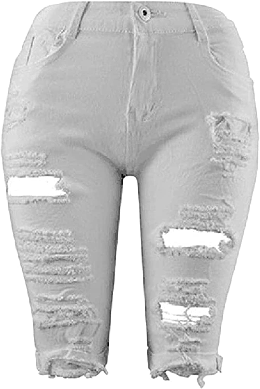 Womens Ripped Skinny Denim Shorts Destroyed Slim High Waist Bermuda Shorts Rolled Hem Stretchy Jean Shorts with Holes