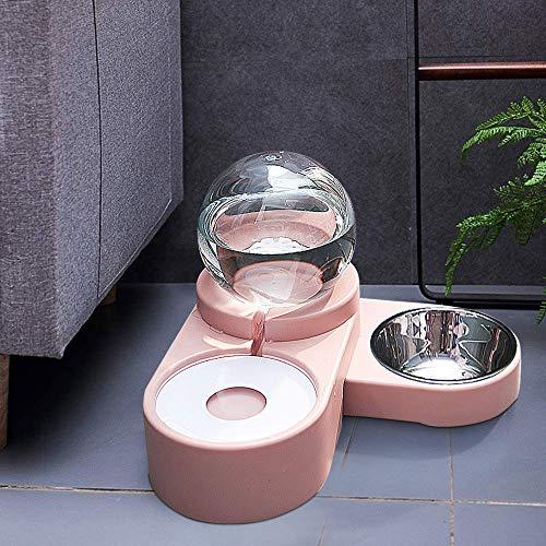 maohegou wasserspender für Hunde und Katzen automatischer Wassertränke futterspender katzennapf Hunde trinkbrunnen futterautomat (Hellrosa)