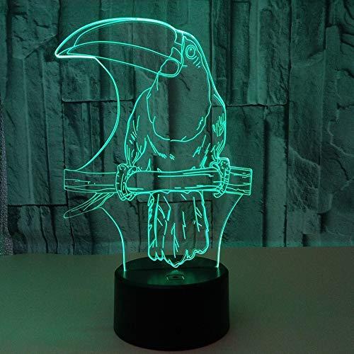 DKEE lámpara de mesa lámpara de mesa simple 3D noche luz colorida creativa Pico pájaro LED lámpara de mesa USB