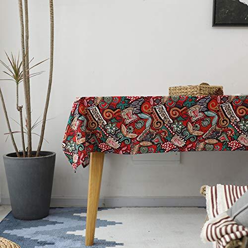 BH-JJSMGS Restauranttischdecke aus Baumwolle und Leinen im pastoralen Stil, rechteckig Bedruckt AA 140 * 200 cm