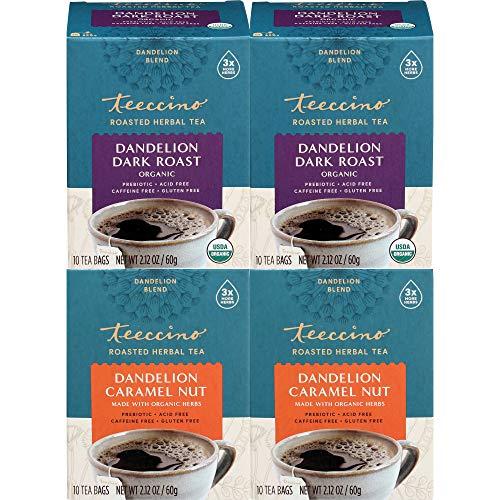 Teeccino Dandelion Tea Variety Pack – Dark Roast & Caramel Nut – Rich & Roasted Herbal Tea That's Caffeine Free & Prebiotic with Detoxifying Dandelion Root, 10 Tea Bags (Pack of 4)