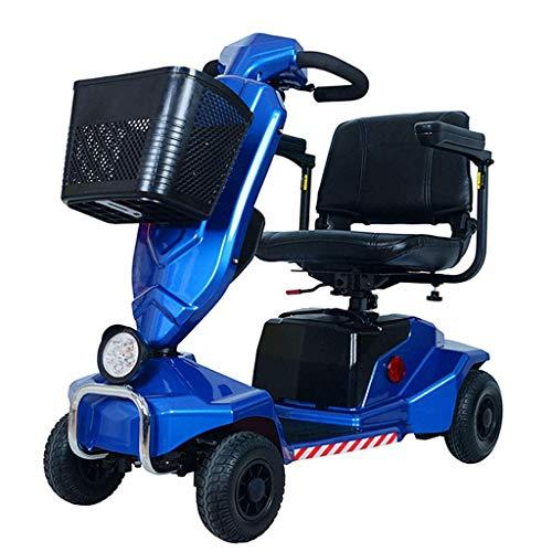 WXDP Autopropulsado Scooter eléctrico de Movilidad, Inteligente eléctrico de Cuatro Ruedas, Plegable, Desmontable, de Largo Alcance, Scooter de Viaje, Asiento cómodo para