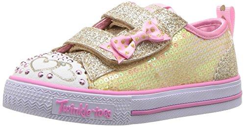 Skechers 10764n, Bébé marche bébé fille - Multicolore (Gold Sequin Textile/ Pink Trim), 21 EU
