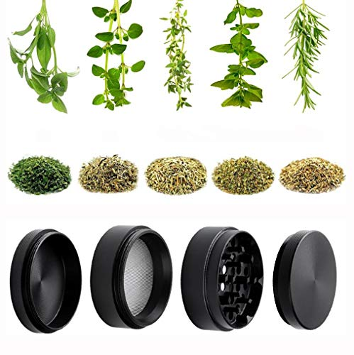 DCOU Zinc Alloy Pollen/Spice Grinder/Herb Grinder/with Sifter and Magnetic Top, The Grinder for Herbs and Spices - 4 Pieces 2.14 Inches (Black)