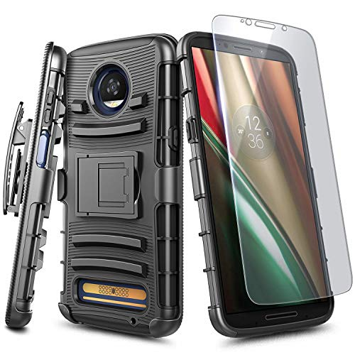 E-Began Case for Moto Z Force (2016), Motorola Moto Z Force Droid with Tempered Glass Screen Protector, Belt Clip Holster Kickstand Shockproof Protective Heavy Duty Case (Black)